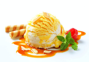 Ice cream with caramel sauce