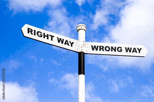 Right and wrong directional sign