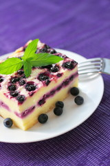 Baked cottage cheese pudding with blueberries
