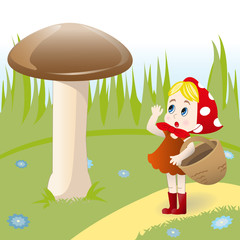 Mushroom and girl