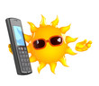 Sunshine chats on the mobile phone