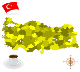 Map of Turkey, provinces and regions