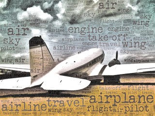 Word art illustration of a DC-3 transport aircraft