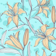 Lilies pastel floral seamless pattern