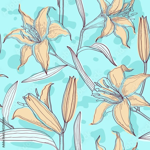Lilies pastel floral seamless pattern
