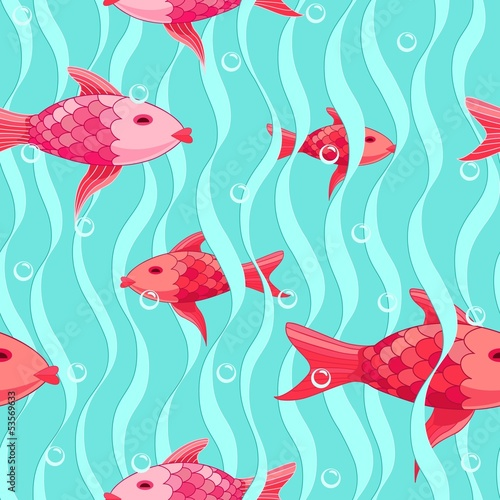 Red  fishes seamless pattern