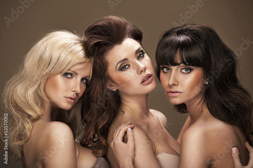 Trio of sensual young women