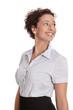 Attraktive junge Geschäftsfrau lachend und isoliert
