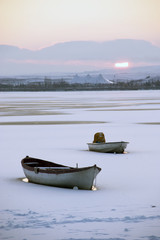 Mogan (Golbasi) Lake in winter. This Lake is in Ankara/Turkey.