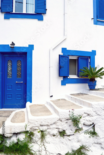 Traditional greek alley street stairs