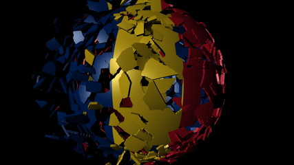 Chad flag sphere combining and breaking apart animation