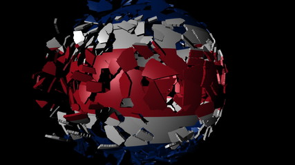 Costa Rica flag sphere combining and breaking apart animation