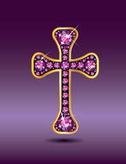 Christian Cross in Gold with Garnet Stones