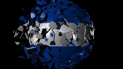 Honduras flag sphere combining and breaking apart animation