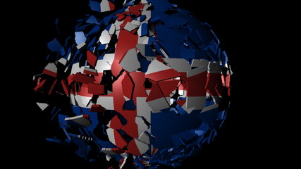 Iceland flag sphere combining and breaking apart animation