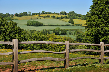 Country fence and hills in Kent, England