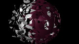 Qatar flag sphere combining and breaking apart animation