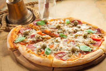 Sailor's pizza with fresh basil