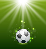 Football background with ball and light effect