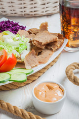 Close-up of kebab on a plate