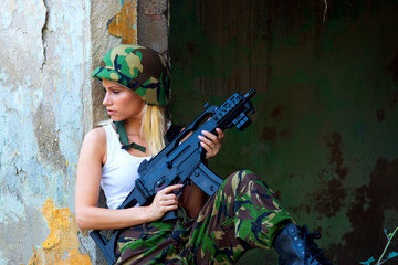 army girl with rifle