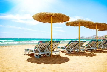 Vacation Concept. Spain. Beach Costa del Sol. Mediterranean Sea