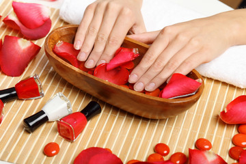 Woman is getting manicure