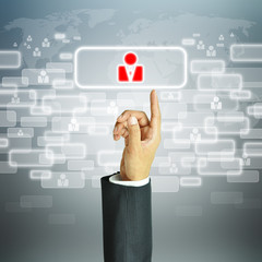 Businessman pointing human sign - HR,HRM,HRD,CRM concept