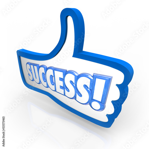 Success Word Thumb's Up Like Approval Feedback Rating