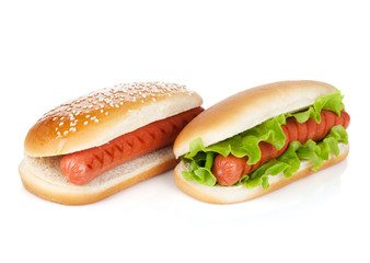 Two hot dogs with various ingredients