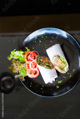 Salmon wrap with roti dough top view