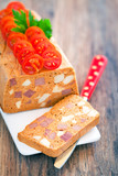 Chicken and beef terrine, selective focus