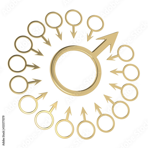 Zodiac symbol of masculinity with a lot of characters on the edg