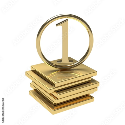 Symbol for high quality. Gold number one on gold podium