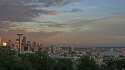 Seattle Washington Cityscape with Mt Rainier Timelapse at Sunset
