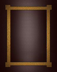 Brown background with gold frame.