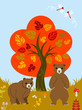 Autumn tree and Two bears
