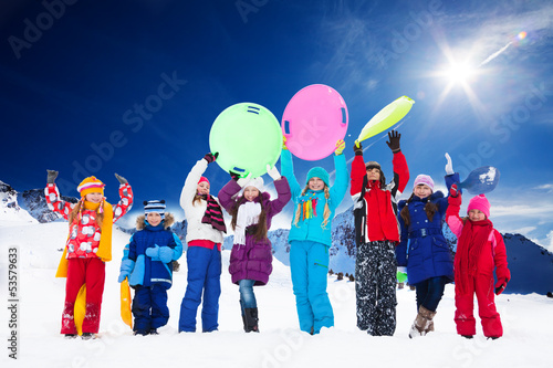 Many kids and snow activities