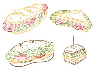 Frühstück, Sandwiches, Baguettes, Toast
