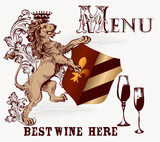 Menu or poster design in heraldic style with lion and wine