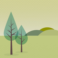 Landscape background with trees and mountains