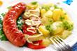 grilled sausage,vegetable salad and potato