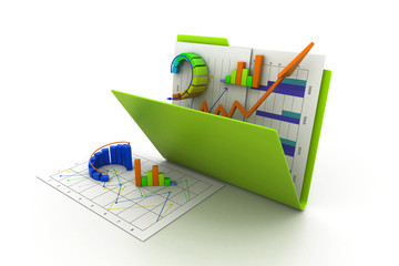 Folder with business chart and graph