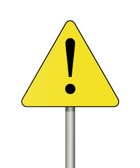 Warning sign isolated on white background.