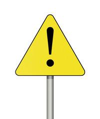 Warning sign isolated on white background.