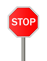 Stop sign isolated on white background.
