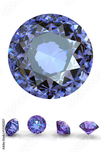 Round amethyst. Collection of jewelry gems