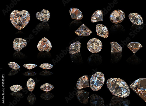 Round cognac diamond. Collection of jewelry gems