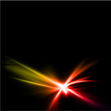 Abstract yellow and red rays lights. Vector