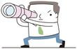 望遠鏡を覗くビジネスマン